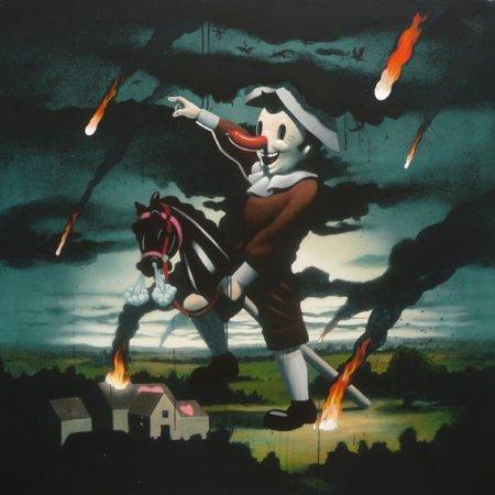 Y vienen los imbeciles, Acrylic on canvas, 145 x 145 cm, 2008